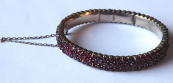 Oval garnet bracelet, three rows