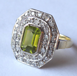 Gold ring with diamonds and olivine ( peridot )
