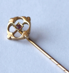Art Nouveau, gold tie pin with small red stone