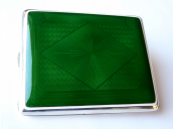 Silver cigarette case with green and white enamel