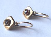 Gold children's art nouveau earrings, with garnets