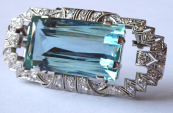 Art deco brooch, pendant, 38 diamonds 1,5 ct - aquamarine 54,5 ct