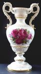 Representative large Meissen vase, painted flowers