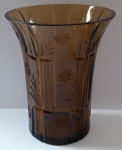 Art deco vase, light brown glass
