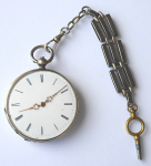 Silver pocket watch with chatelaine