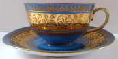 Blue mocha cup, gilded belt - Johann Haviland and Rudolf Wächter