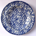 White and blue stoneware plate, lighter - Budweis