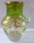 Small jug, green and clear glass - gilded ornament