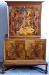 Bar with cabinet, marquetry with exotic motif