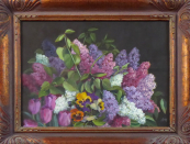 Monogram M. S. - Lilacs, tulips and pansies