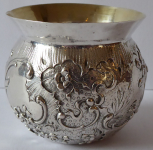 Silver bowl with rococo embossed ornament - Hanau