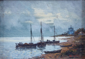 Sailboat in the bay, near the Orthodox church