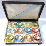 Colored glass rings in a box