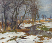Alois Janecek Pardubsky - In winter at the stream