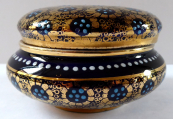 Cobalt round box, gold flowers