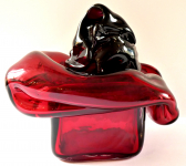 Author's object made of ruby glass - Karel Wünsch, year 1979