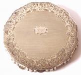 Silver, round powder box, engraved edge, monogram T. V.