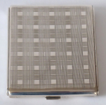 Silver cigarette case, with stripes and squares