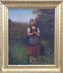 Girl with scythe, wheelbarrow and locomotive in the background