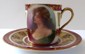 Mocha cup with a portrait of a girl - Habsburg porcelain