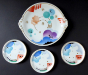 Bowl and three smaller plates, art deco - Rosenthal
