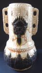 Art Nouveau ceramic vase, relief ornament and medaillon