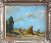 Vaclav Vaner - Woman tying a sheaf of grain, in the field