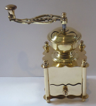 Brass coffee grinder, lyre-shaped handle