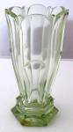 Gently light green vase, with facets
