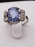 White gold ring, platinum - sapphire 7.70 ct