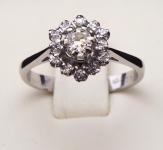White gold ring, flower - 0.30 ct diamonds