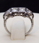 Platinum ring, four diamonds 0,65 ct