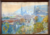 Bedrich Cerny - View of the roofs of the Lesser Town in Prague