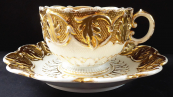 Meissen white and gilded cup and saucer - Biedermeier