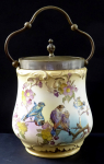 Painted container with birds on twigs, handle and lid - Franz Anton Mehlem, Bonn