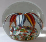 Glass paperweight, blue-white and orange, red petals
