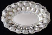 Silver oval bowl - Weinranck & Schmidt, embossed flowers Hanau