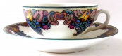 Decorative painted cup and saucer - Alois Jaronek