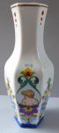 Vase with colorful floral ornament, children - J. Panos, Ceske Budejovice, rok 1947