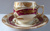 Hand painted, gilded mocha cup - Carl Boseck, Haida