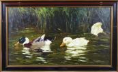 Vojtech Hynek Popelka - Ducks on the water, near the reeds