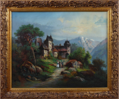 Chateau in a mountain landscape