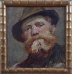 Adolf Liebscher - Portrait of a bearded man in a hut