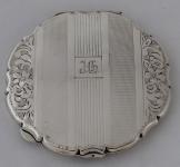 Silver powder box monogram J. CH.