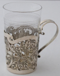 Art Nouveau, silver, cut holder, for a glass