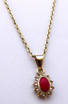 Gold chain and pendant with red coral and spinels