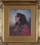 Josef Zenisek - Portrait of a girl in a red scarf
