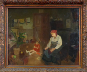 Josef Multrus - Sitting mother with small girl in kitchen room