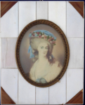 Lady with floral wreath and blue ribbon - miniature