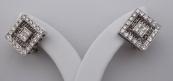 Earrings, rhombus, white gold - diamonds 1.50 ct